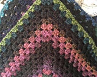 Homemade crochet granny blanket