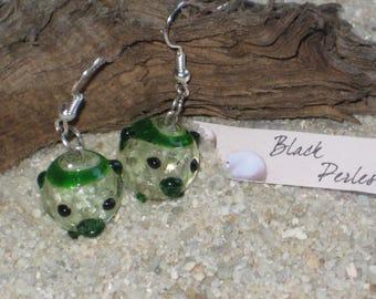 Earrings green glass pig