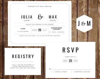 News Type Wedding Invitation Set