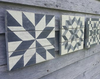 Miniature Barn Quilt Collection  (black & white)