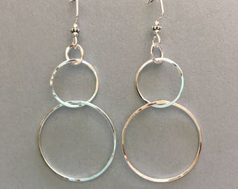 Sterling silver dangly 3 circle earrings