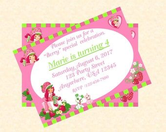 Strawberry Shortcake Invitation/Happy Birthday/Digital/DIY/Girl Birthday Party