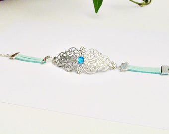 Oriental chic fashion bracelet silver and green pastel - 2 different colors