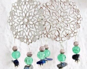 Watery green oriental fancy earrings