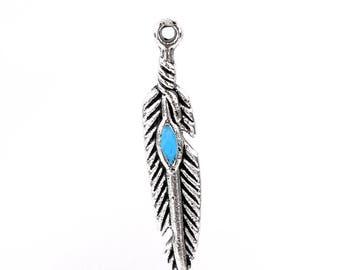 1 bracelet charm plucks in metal 28 * 5 mm turquoise blue enamel
