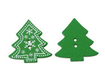 set of 5 tree shape 3.2 X 3 cm wooden buttons
