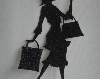 Custom ladies cut that makes her shopping in black glitter cardstock