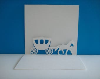 Cutting white pop up carriage with his horse to customize card