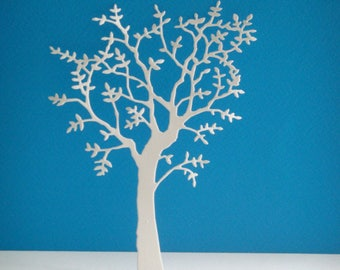 Cutout tree with leaves in white foam for scrapbooking and card