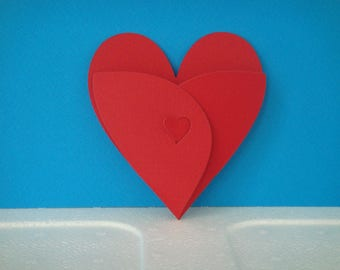 Cut red heart for scrapbooking and card Pocket