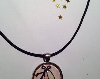 "Rubber necklace pendant 25 mm Choker ""Ballerina's dance classic"""
