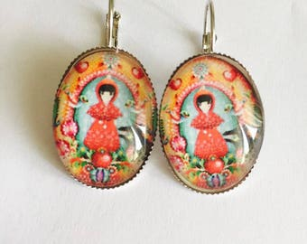"""Cabochon oval """"Little Red Riding Hood"""" sleeper earring"""