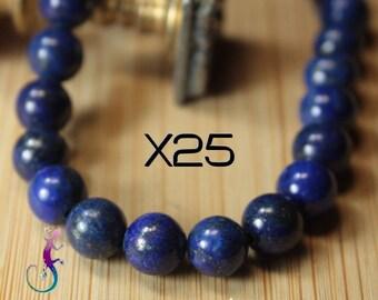 25 beads 6mm lapis lazuli