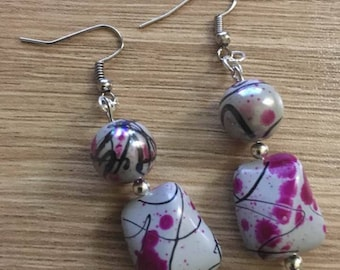 "Earrings ""chinoiserie"" silver plated support"