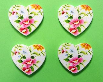 SET 4 wooden buttons: heart flower 24 * 22mm (No. 09)