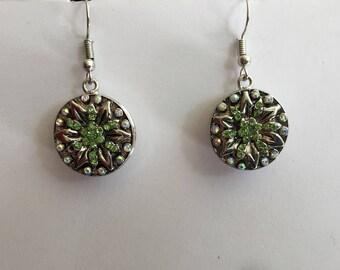 Interchangeable earrings Crystal rhinestone Silver Flower button and green head 5.5 mm