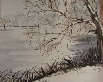 "Original watercolor painting ""snow pond"" landscape of hollow - framed"