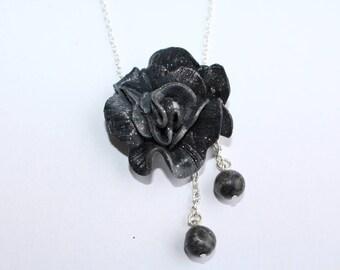 Glitter black rose necklace, Choker chain