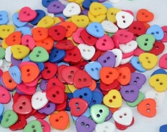 50 buttons 11 mm mixed multicolor heart 2 nine holes