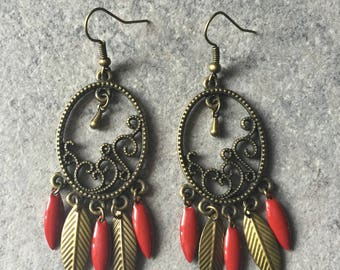 Earrings romantic red and bronze