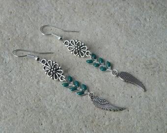 Earrings chains enamel green ears