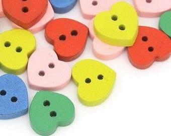 2 heart 12 mm wooden buttons