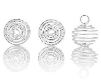 2 pendants spiral cage bead 17 x 8 mm