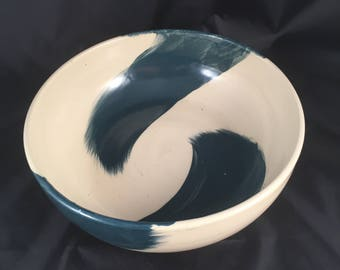 Handmade Modern Serving Bowl, Ceramic Serving Bowl, Teal Ceramic Bowl, Teal Serving Bowl, White and Teal Bowl, Modern Ceramic Bowl