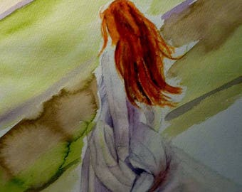 watercolor beautiful redheaded woman