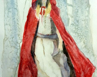 watercolor Red Riding Hood a mysterious woman