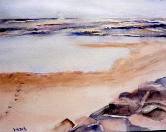 watercolor landscape, a beach in winter