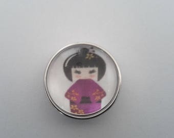 snap glass cabochon 18mm Asian girl
