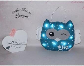 Bright owl, night, cushion, original wall decor, baby, child, customizable name