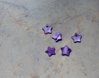 Beads / sequins in mother-of-Pearl, purple, star shape. 10mm