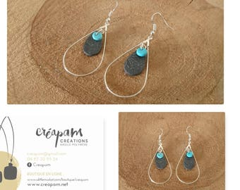 Gray drops RING polymer clay earrings and turquoise silver prints