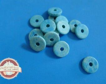 20 ethnic washers 2x13mm turquoise ceramic beads
