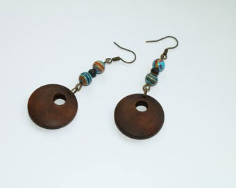 Wooden rings earrings