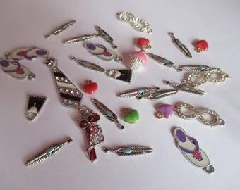 set of 30 enamel charms or rhinestones