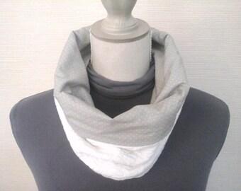 Snood /tour de cou ou capuche chic bi matière et réversible blanc et gris