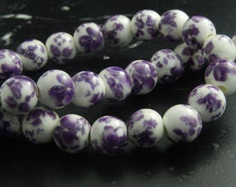 5 white porcelain beads painted 10mm