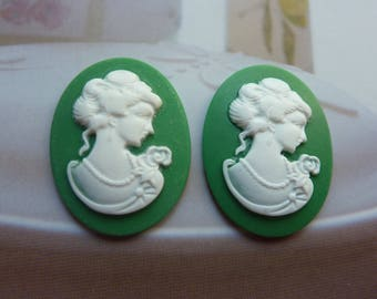 Cameo cabochon resin embellishment 29x39mm woman
