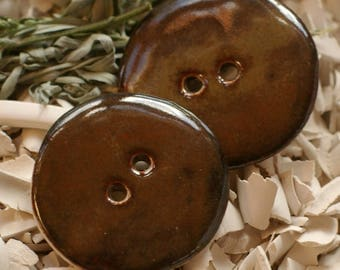 "PORCELAIN BUTTON -Smooth and shiny 2 buttons ""brown glossy"""