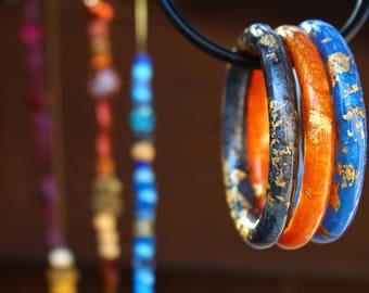 bangles, resin, jewelry, blue, orange, grey