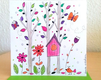 Card birthday - card hand - painted colorful