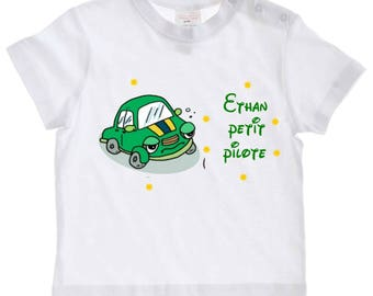 tee shirt baby boy pilot personalized with name