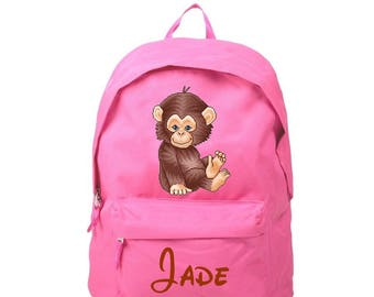 bag has pink monkey personalized with name