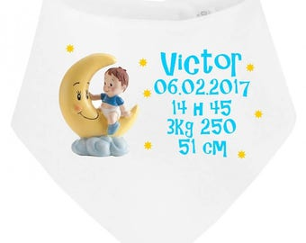 Date, time, weight... personalized with name baby bandana bib