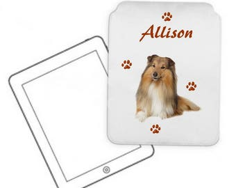 Cover for tablet pc Collie personalized with name