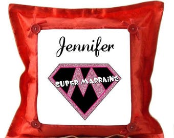 Red cushion Supermarraine personalized with name