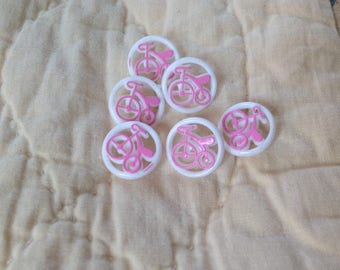 Set of six vintage buttons, bicycle print